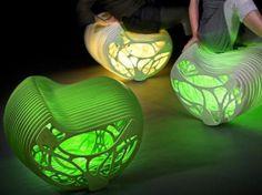 design chaise lumineuse sculpture