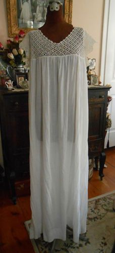 Free Shipping on this romantic piece of history- Antique Crochet Yoke Edwardian Nightgown