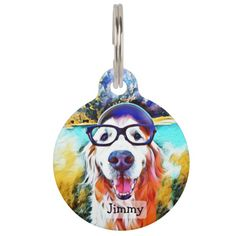 Shop Vibrant Golden Retriever Nerd Glasses Painting Pet Name Tag created by AugieDoggyStore. Personalize it with photos & text or purchase as is! Pet Name Tags, Pet Id Tags, Dog Tags, Golden Retriever Names, Psychedelic Colors, Custom Pet Tags, Cute Dog Photos, Pet Names, Dog Portraits