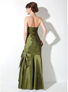 Trumpet/Mermaid Strapless Floor-Length Taffeta Bridesmaid Dress With Ruffle Beading Bow(s) (007000906) - JJsHouse