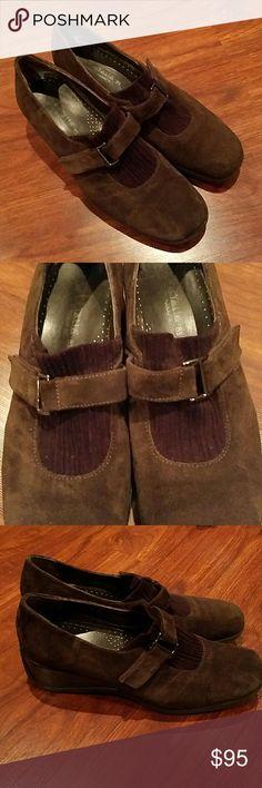 Aquatalia slip on suede with buckle shoes sz 8 1/2 barely used Aquatalia  Shoes