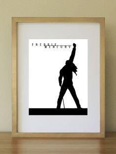 Freddie Mercury Sillouhette in Concert. Queen band. 8x10 Wall Art. via Etsy.