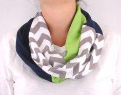 Chevron Stripe Zig Zag Infinity scarf Loop CircleGreen Navy White Seattle Seahawks women OOAK Necklace jersey Fashion Designs 4U
