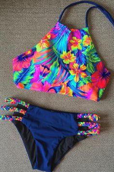 High Neck Braided Bikini - Nice Bikinis - Image Sharing World The Bikini, Halter Bikini, Bikini Swimwear, Bikini Beach, Floral Bikini, Halter Neck, Summer Bathing Suits, Girls Bathing Suits, Summer Bikinis