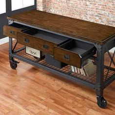 *** i think Costco sells these, this would look great in the TV Room!***Whalen Furniture, mueble hierro y madera, soldar, weld Industrial Design Furniture, Vintage Industrial Furniture, Industrial Interiors, Industrial House, Rustic Furniture, Furniture Design, Industrial Metal, Industrial Style, Industrial Closet