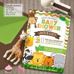 Printable jungle baby shower invitation free thank you card safari baby shower invitations jungle animals diy by cutepartydash filmwisefo