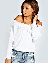Mulheres Blusa Casual Sensual / Moda de Rua Primavera,Sólido Rosa / Branco / Preto Algodão Decote Canoa Manga Longa Fina