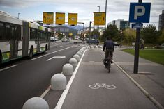 upcoming european cycling capital? New cycle track in Ljubljana with an added barrier for the cars.