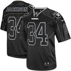 Nike Oakland Raiders #34 Bo Jackson Lights Out Black Elite NFL Jersey Sale