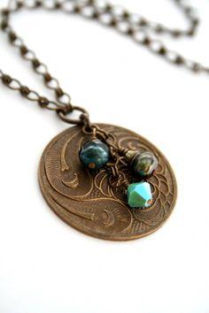 Vintaj Inspired by Morrigancrow Coin Jewelry, Brass Jewelry, Stamped Jewelry, Jewelry Crafts, Jewelry Art, Beaded Jewelry, Jewelery, Jewelry Necklaces, Handmade Jewelry
