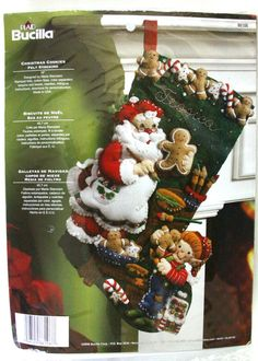 "Bucilla Felt Applique Xmas Stocking Kit 18"" Santa & Elf Making Gingerbread…"