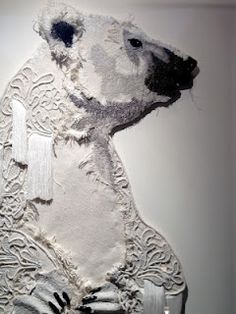 Thread and Thrift - karen nicol - amazing embroidery works! Textile Fiber Art, Textile Artists, Textile Sculpture, Creative Textiles, Embroidery Works, Fabric Manipulation, Fabric Art, Dog Training, Training Tips