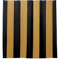 #chic - #Elegant Black and Gold Bold Vertical Stripes Shower Curtain