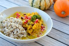 Pumpkin Pulp Curry with Pomegranates from www.thegreenbowl.at