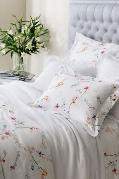 A painting Annie loved is the inspiration for this pretty, painterly duvet cover. Digitally printed on soft, count cotton percale, the blossoms have a lovely, watercolor quality that just begs to be partnered with all of our colorful solid bedding. Bed Linen Design, Floral Bedding, Gold Bedding, Neutral Bedding, Queen Bedding, Blue Bedding, King Comforter, Simple Bed, Buy Bed