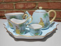 Vintage Noritake China Crinoline Girl Breakfast Set 6 Pc Miniature Teapot in Pottery & Glass, Pottery & China, China & Dinnerware Breakfast Set, Noritake, China Dinnerware, Teapot, Bowl Set, 1920s, Miniatures, Pottery, Ebay