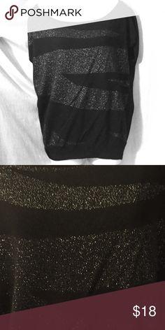 Black short sleeve sweater Black sweater with sparkle zebra print detail Worthington Sweaters