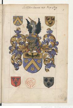 Titre : Recueil d'armoiries coloriées disposées selon un ordre méthodique, et généalogies diverses Date d'édition : 1501-1600  Français 5233
