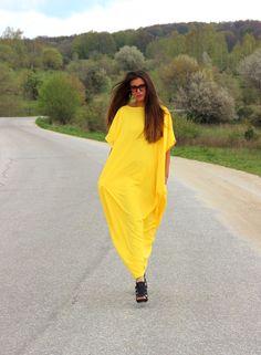 Yellow  Maxi Dress, Caftan, Plus size dress, Plus size clothing, Kaftan dress, oversized dress, Casual dress, Party dress by cherryblossomsdress on Etsy https://www.etsy.com/uk/listing/189368011/yellow-maxi-dress-caftan-plus-size-dress