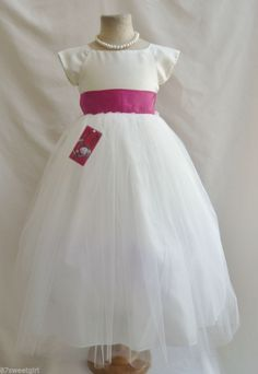 405961485 NEW VB IVORY/FUCHSIA PINK JR. BRIDESMAID PAGEANT EASTER PARTY FLOWER GIRL  DRESS   eBay