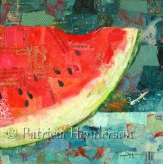 A SLICE OF SUMMER Original Paper Collage by PatriciaHendersonArt