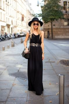 Spring is all about color, but that doesn't mean you have to put your black away! To recreate this all-black ensemble, look to your favorite black maxi, floppy hat and crossbody bag -- oh, and don't forget your oversized sunnies!