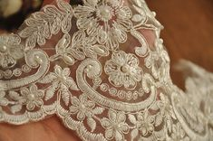 Beaded Alencon lace trim in ivory silver for bridal by lacetime