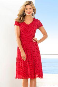 I bought this dress.  Love it - so comfortable. Capture Polka Dot Dress - EziBuy Australia