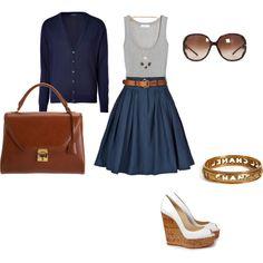 fourth of july  Blue skirt, red wedges, white shirt, belt