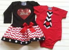 Brother and sister matching Valentines Day Outfits. Girls Love Dress and Boys tie heart onesie. Custom boutique children's clothing.