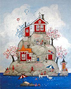 / little houses on a big rock / illustration / Cottage Art, Guache, Naive Art, Whimsical Art, Beach Art, Cute Art, Folk Art, Watercolor Paintings, Art Drawings