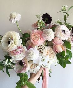Pink Flowers Inspiration : bouquet of pinks, creams, lilac and purples - Flowers.tn - Leading Flowers Magazine, Daily Beautiful flowers for all occasions Ranunculus Bouquet, Pink Bouquet, Floral Bouquets, Wedding Bouquets, Bridal Flowers, Pink Flowers, Fresh Flowers, Exotic Flowers, Pink Peonies