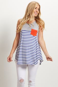 This fun maternity top is the perfect piece to style all summer long. A striped print perfect for beach days and a colorful pocket accent detail for a splash of color. Wear this top with shorts and sandals for a complete look that will keep you stylishly cool.