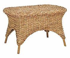 Tavolino in rattan e giacinto d'acqua Lola - 82x52x52 cm