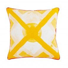 Large Dot Tile Yellow Cushion by Bonnie and Neil Bonnie And Neil, Yellow Cushions, Wave Design, Big Waves, Screen Printing, Feather, Dots, Tapestry, Throw Pillows