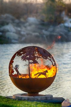 Forest Fire Tree Fire Pit Functional Art for your backyard Fire Pit Sphere, Fire Pit Art, Metal Fire Pit, Fire Pits, Backyard Seating, Fire Pit Backyard, Backyard Landscaping, Backyard Ideas, Fire Pit Gallery
