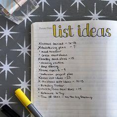bullet journaling list ideas