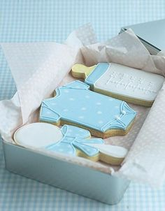 Cute cookies for a baby boy shower.
