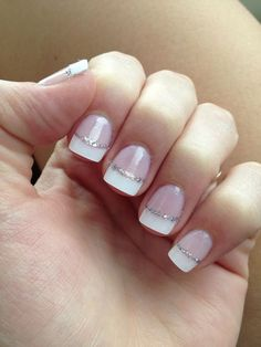 Gel nails: white french tip nails with thin silver glitter line. I like these natural looking nude nails with a little glitter. No fake looking french claws.