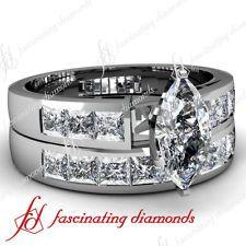 1.50 Ct Marquise & Princess Cut Diamond Engagement Wedding Rings Channel Set 14K