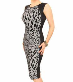 Grey and Black Animal Print Panelled Shift Dress - £39.99 Size 8 - 18 #womensfashion justblue.com