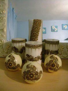 mehndi designs on candles