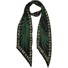 Rockins Palms printed silk crepe de chine scarf (340 CAD) ❤ liked on Polyvore featuring accessories, scarves, black, patterned scarves, print scarves, tying silk scarves, pure silk scarves and tie scarves