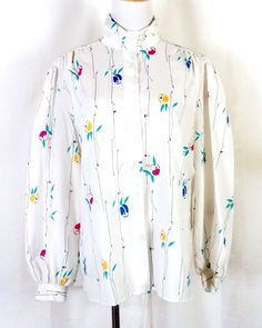 2db48227f2803 vtg 70s 80s Laura Mae Abstract Floral Secretary Top Blouse sz 46 bust. Stl  Vintage