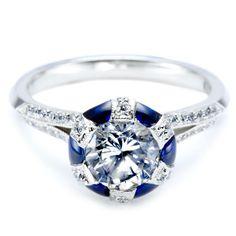 Stunning Sapphire #Diamonds Engagement #Ring. http://jangmijewelry.com/