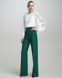 Highwaisted pants and lace top.