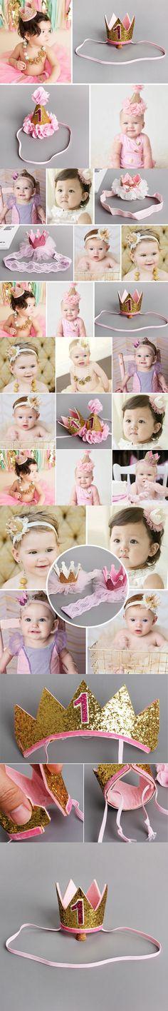 Handmade Infant Newborn Mini Felt Glitter Crown Flower Headband For Baby Girls 1st Birthday Party DIY Garments Hair Accessories