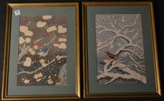 """Set of Four Japanese Framed Woodblocks - Hanga. Size : 14.5"""" x 19"""""""