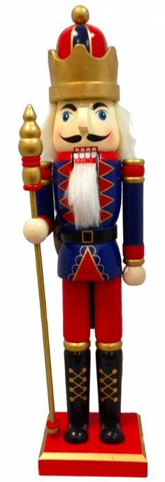 Blue King Holding Royal Scepter Wooden Christmas 15 Inch Nutcracker