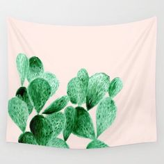 Blush Pink Cactus Wall Tapestry, light pink tapestry, pink cactus tapestry, cactus wall tapestry, pink wall tapestry, dorm room decor